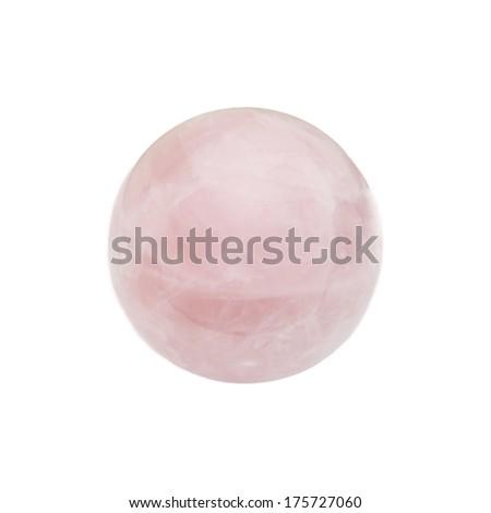 isolated pink  globe shape quartz stone - stock photo