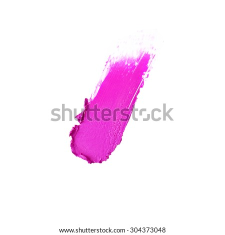Isolated pink lipstick sample