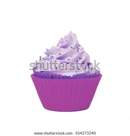 isolated pink purple cupcake with sprinkles - stock photo
