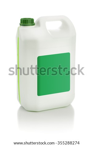 Isolated Plastic Canister Gallon Oil Cleanser Detergent an empty label - stock photo