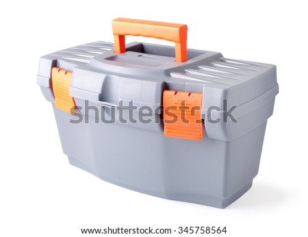 Isolated plastic toolbox on white background - stock photo