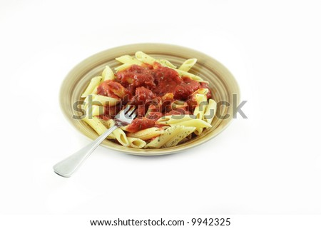 Isolated plate of pasta with fork