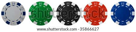 Isolated poker chips in diffrent colors - stock photo