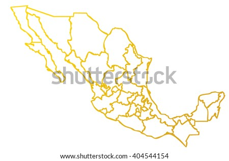 isolated political mexican map of mexico state of america with shaded gold outline of internal country frontier contour on white background - stock photo