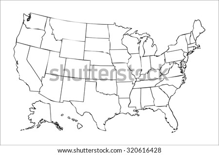 isolated political USA map of united states of america with black outline of 50 country frontier contour - stock photo