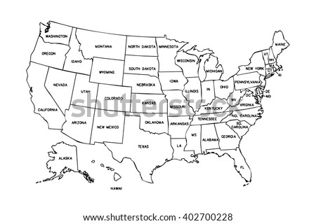 isolated political USA map of united states of america with black outline of 50 country frontier contour with names of the states - stock photo