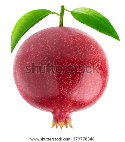 Isolated pomegranate. One pomegranate fruit with leaf isolated on white background with clipping path - stock photo