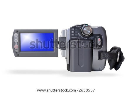 Isolated portable video camera over white background - stock photo