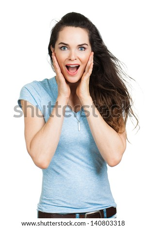 Isolated portrait of a beautiful happy surprised woman.