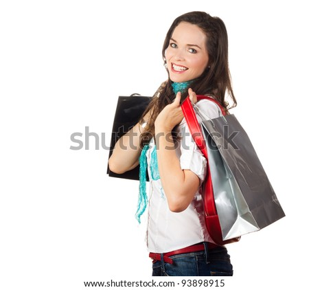Isolated portrait of a beautiful young woman shopping