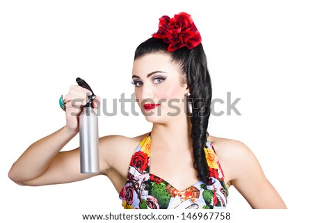 Isolated portrait of a classic woman holding a cleaning spray bottle while smiling and demonstrating housework - stock photo