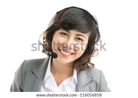 Isolated portrait of a friendly female receptionist