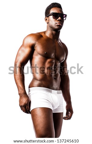 Isolated portrait of a masculine shirtless man in underwear. - stock photo