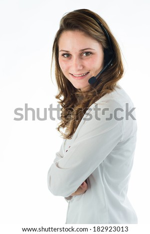 isolated portrait of a young female telephone operator