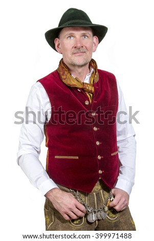 isolated portrait of bavarian man in traditional clothes