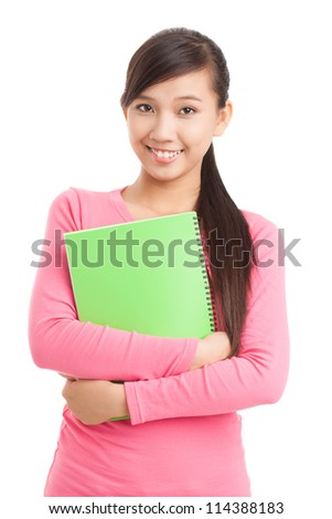 Isolated portrait of teenage student looking at camera