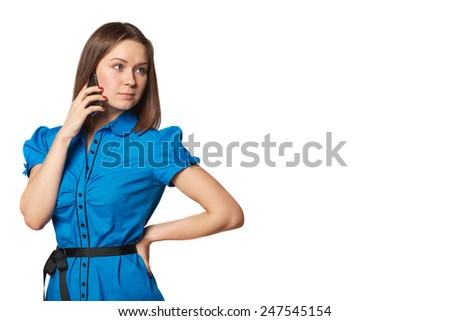 Isolated portrait of young woman phone call. Isolated beautiful girl. Talking mobile phone woman. - stock photo