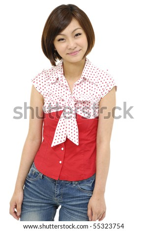 Isolated portrait shot of cute woman posing - stock photo