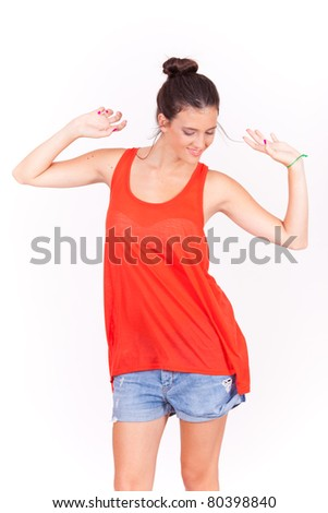 isolated portrait young beautiful happy women dancing on white background
