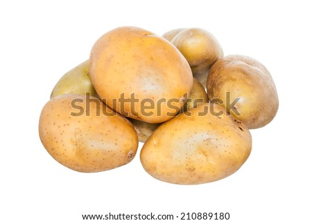 Isolated potatoes on white with clipping path