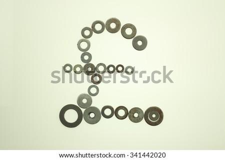 isolated pound sign, UK currency symbol - stock photo