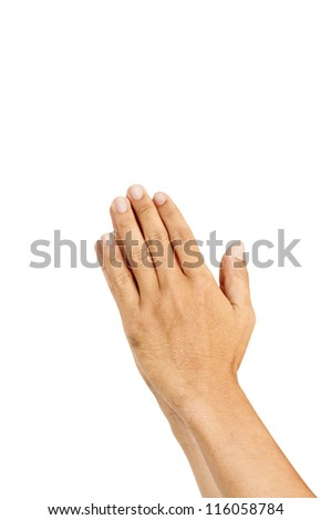isolated praying hands gesture, with palms together. - stock photo