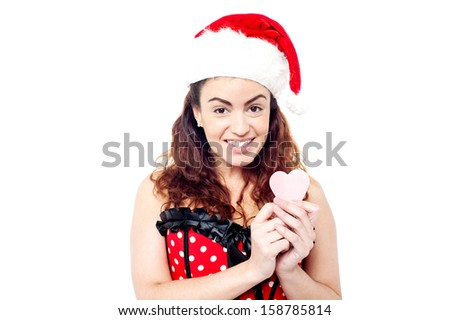 Isolated pretty woman with paper heart - stock photo