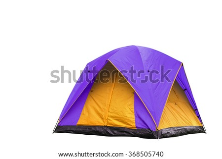Isolated purple and yellow dome tent with clipping path - stock photo