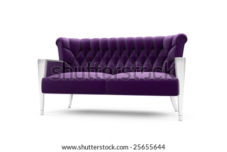 isolated purple sofa on a white background