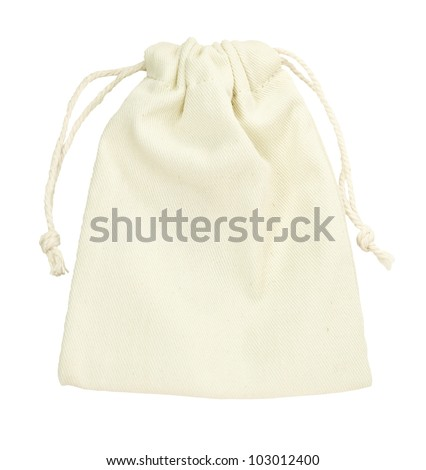 isolated purse string cotton bag on white background with path - stock photo