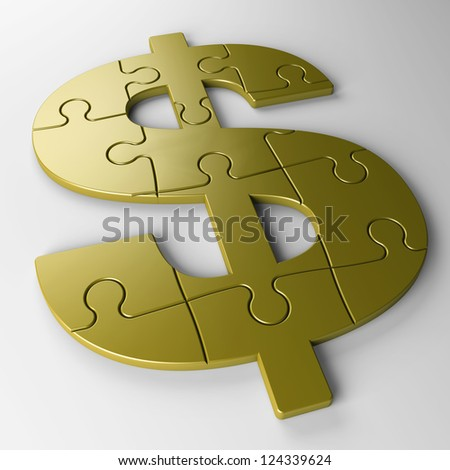 isolated puzzle dollar with clipping path - stock photo