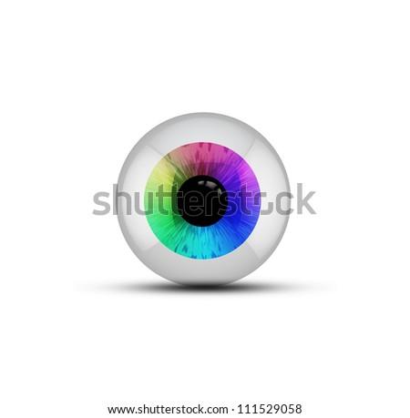 isolated rainbow spectrum eyeball - stock photo