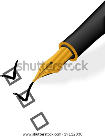 Isolated raster version of Gold Pen Check - stock photo