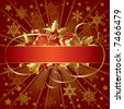 Isolated raster version of vector gold Christmas banner (contain the Clipping Path of the banner and the decorations) - stock photo