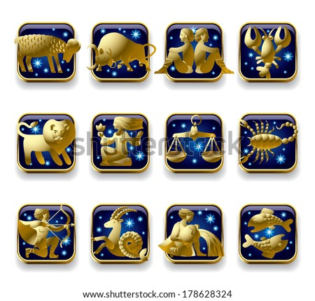 Isolated raster version of vector set of dark blue icons with gold zodiacal signs with figure, symbols and stars against a white background (contain the detailed Clipping Path) - stock photo