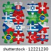 Isolated raster version of vector set of puzzle flag icons 4 (contain the Clipping Path of every object) - stock vector