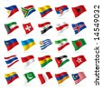 Isolated raster version of vector set of world flags 3 (contain the Clipping Path of all objects) - stock photo