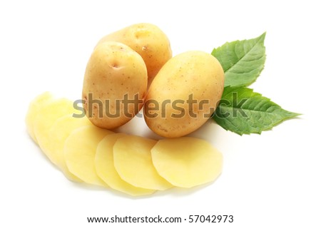 isolated raw potatoes with green leaves on white background