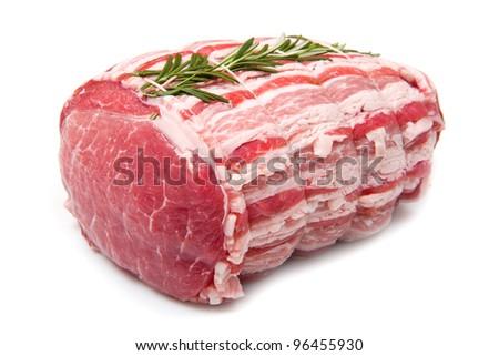 isolated raw roast beef on white background - stock photo