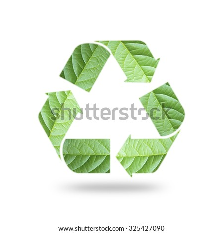 Isolated recycle arrow sign double exposure with natural green leaf pattern texture on white background: Reduce, reuse, recycle symbolic concept: Environmental conservation awareness campaign  - stock photo