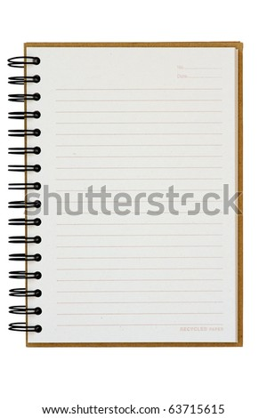isolated recycle paper notebook right page - stock photo