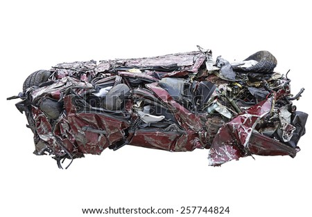 Isolated recycled car. Clipping path included - stock photo