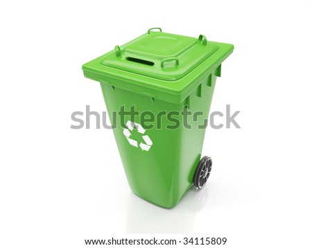 Isolated Recycling Container - stock photo