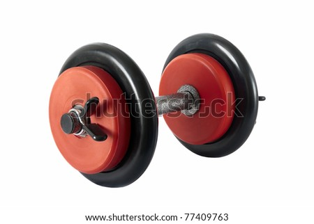 Isolated red and black heavy weight for sport - stock photo