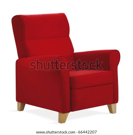 isolated red armchair - stock photo