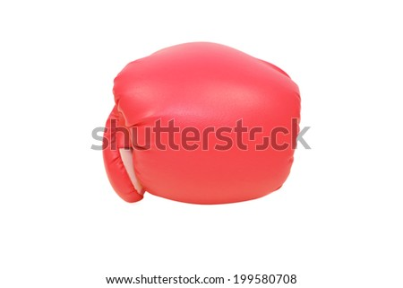 isolated red boxing glove in white background - stock photo
