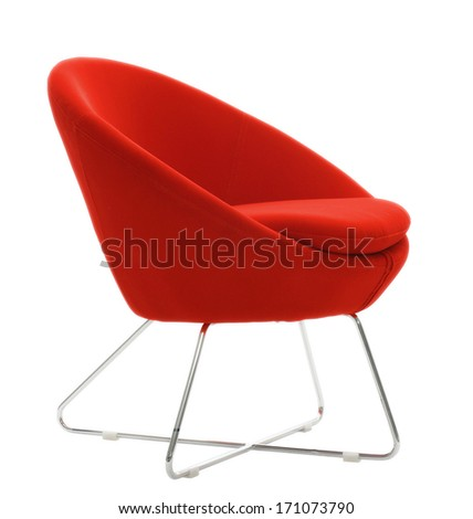 isolated red chair - stock photo