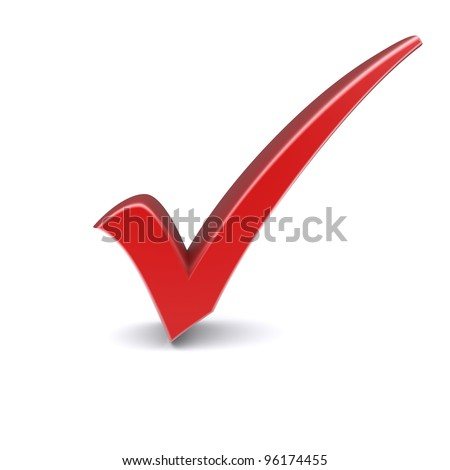 Isolated red check mark. 3d image - stock photo