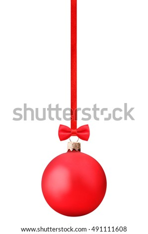 Isolated red christmas ball on white background with clipping path