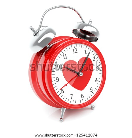 Isolated red clock with heart on clock face on white background - stock photo